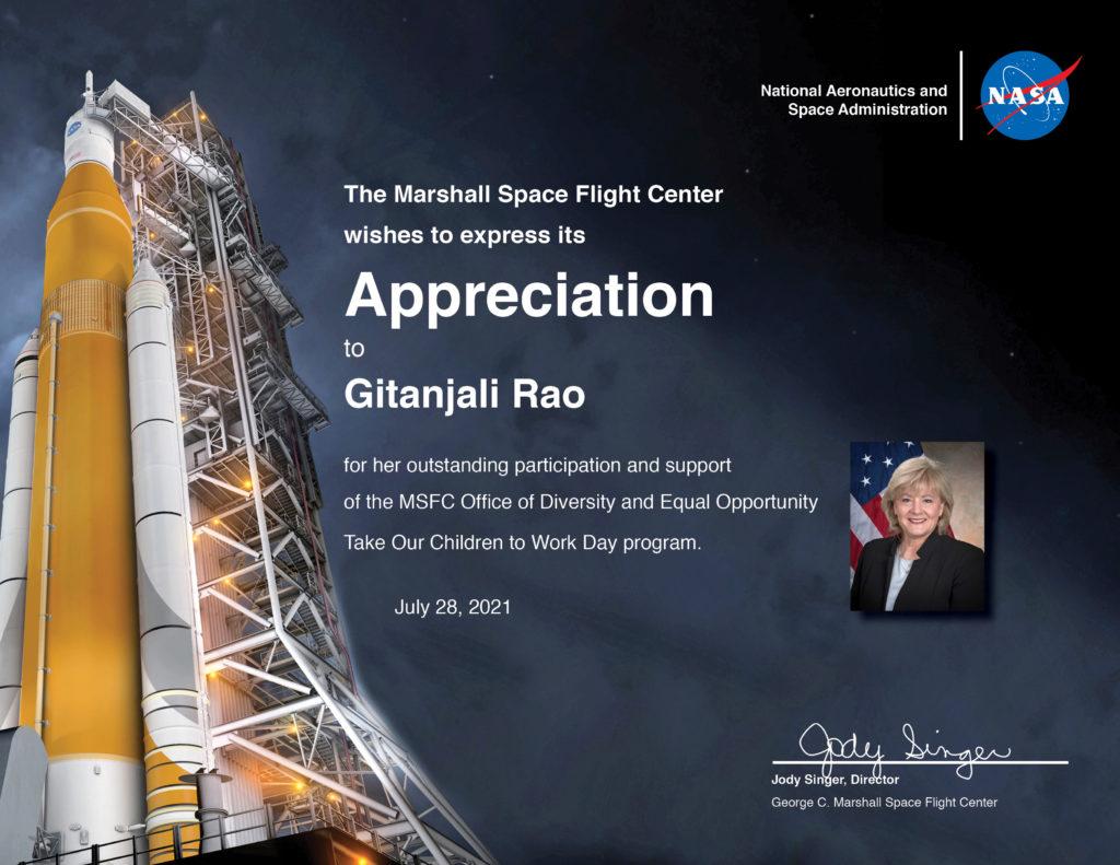 Gitanjali Rao NASA MSFC Certificate 1024x791 - Gitanjali Rao